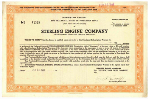 Sterling Engine Company. Stock Certificate. New York. 1946