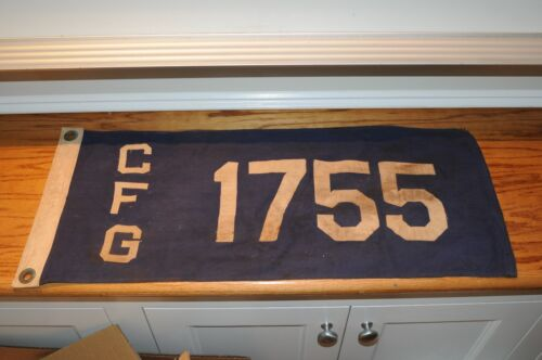 """Vintage Antique Nautical Yacht Boat Maritime Flag Pennant Hand Sewn 26"""" by 11.5"""""""