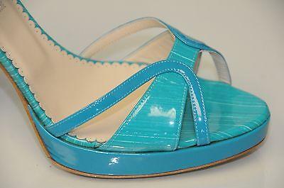 $795 NEW Oscar de la Renta Pumps Patent Leather Turquoise Sandals Shoes 40.5