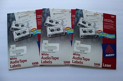 Lot Of 3 Avery 5998 White Laser Audio Cassette Tape Labels 30 Sheets 360 Labels