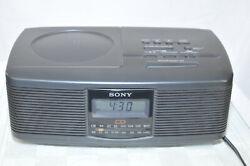 Sony Stereo CD Player Digital Clock Dual Alarm AM FM Radio Clock Tested Works