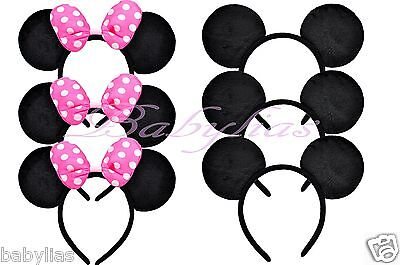 12 Minnie Mouse Ears  Mickey Headbands Black PINK Bows Birthday Party Favors ](Minnie Mouse Mickey Mouse)
