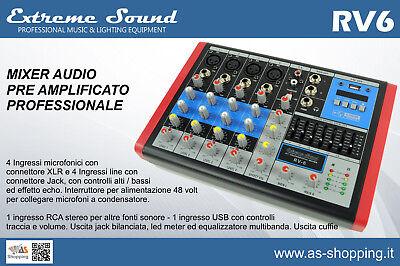MIXER 6 CH PROFESSIONALE USB MP3 BLUETOOTH CON EFFETTI x DJ KARAOKE PIANOBAR  usato  Brecciarola