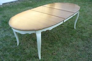 Details about ethan allen dining table french country oval excellent