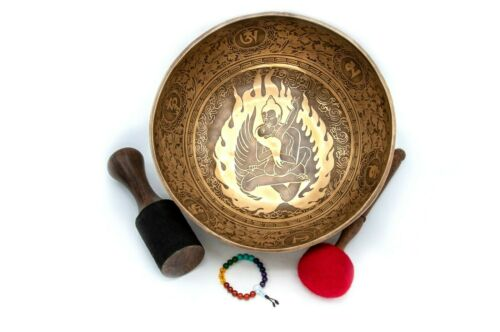 10 inches Diameter Buddha shakti carved Himalayan singing bowl-Blessed bowl