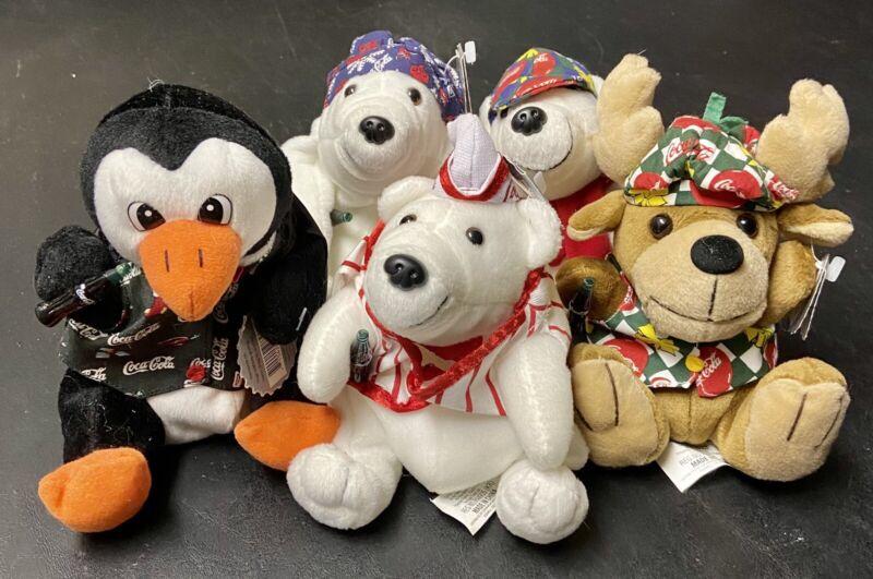 Lot-5 Vintage 1998 Coca-Cola Bean Bag Plush Bears Reindeer Penguin North Pole