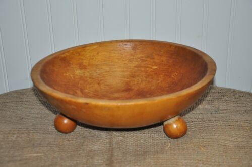 Primitive footed wood dough bowl