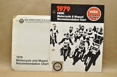 (Vtg 1979 NGK Spark Plug Motorcycle Moped Heat Range Reference Chart Catalog Lot)