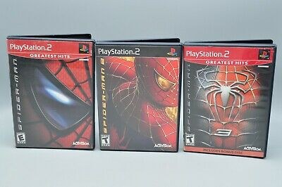 Sony Playstation 2 PS2  Spiderman 1,2 and 3 Game Lot COMPLETE CIB Free Shipping