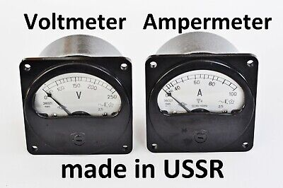 Analog Ampermeter And Voltmeter Ac E8021 Ussr Vintage Soviet Russian Rare Volt