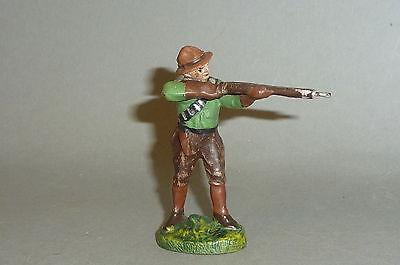 Alter Elastolin Cowboy mit Gewehr schießend - Massefigur 1930er Jahre