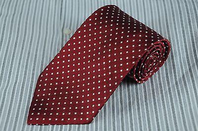 Brooks Brothers Men's Tie Burgundy & White Geometric Woven Silk Necktie