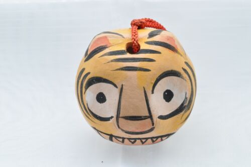 Japanese Clay Bell Ceramic Dorei Vintage Tiger face Hakone 1.96 x2.36 x2.36inch