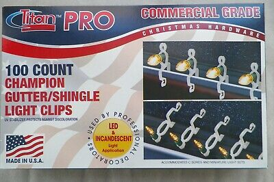(100) Dual-Direction Gutter/Shingle Tabs, Clips, For All Types of X-MAS Lights  ()