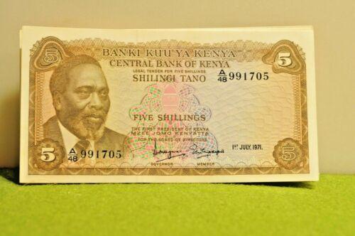 (5) 1971  Central Bank of Kenya 5 shillings banknote Unc!!