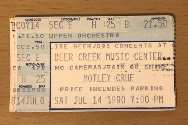 1990 MOTLEY CRUE / LITA FORD DR. FEELGOOD TOUR INDIANAPOLIS CONCERT TICKET STUB