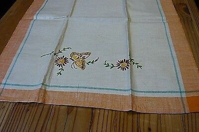 - HAND EMBROIDERED BUTTERFLY/FLORAL TEA TOWEL-LINEN-Ends Hand Hemmed-px 17 x 30