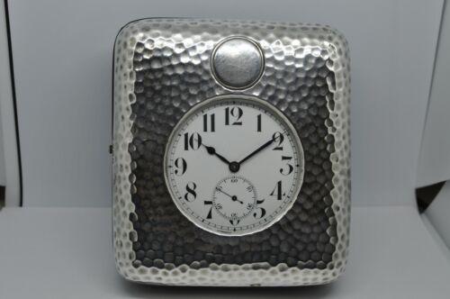 1915 William Comyns & Sons Sterling Easel Desk Travel Goliath Pocket Watch Clock
