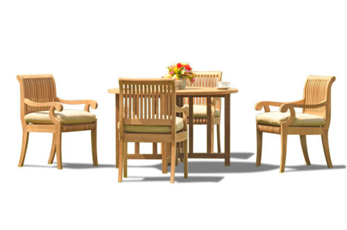 "5-piece Outdoor Teak Dining Set: 48"" Butterfly Round Table, 4 Arm Chairs Giva"