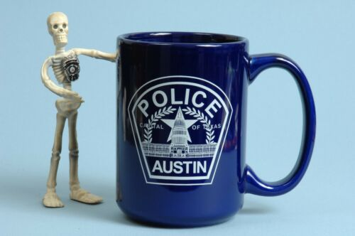 Austin Texas Police Coffee Mug Large Ceramic Cobalt Blue D Handle Cup