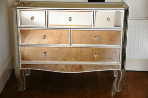 Palazzo Large mirrored chest of drawers multi 6 drawer bedroom furniture