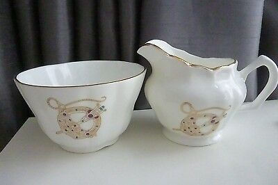"Vintage Royal Tara -  ""Tara Brooch"" Patterned Milk Jug & Sugar Bowl -VGC"