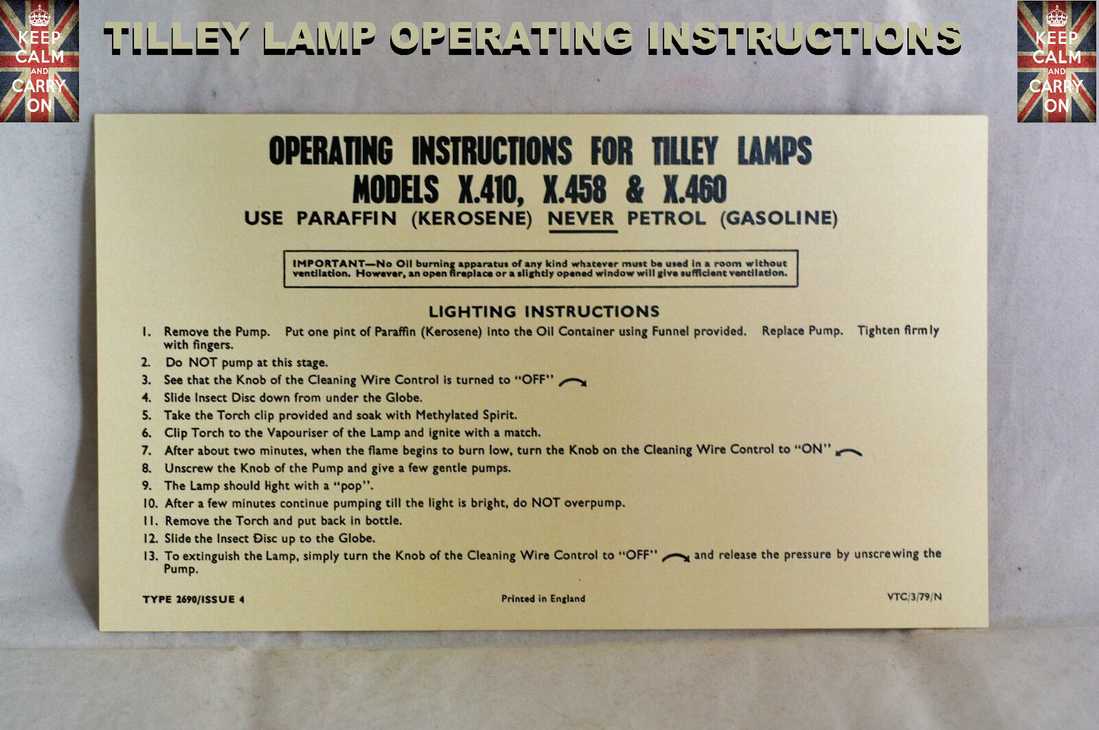 /&  X460 INSTUCTIONS CARD LEAFLET TILLEY LAMP X.410   X.458