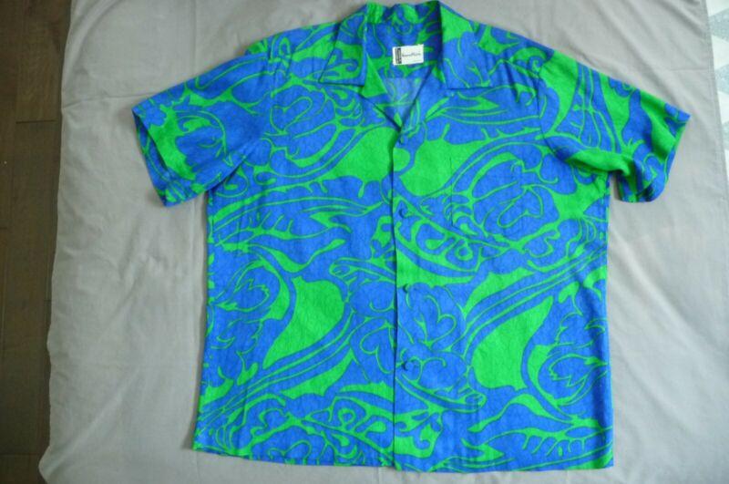 "Vintage 1960s Norma Maiers ""Polynesian Casuals"" Hawaiian Shirt w/Extra Button"