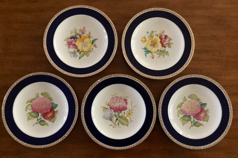 RARE CROWN DUCAL 5 Hand Painted Luncheon Plates Flowers Flowers