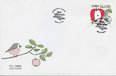 ALAND 2016 FDC SEASONS SEPAC 1V SET COVER APPLES FRUITS FRUIT STAMPS
