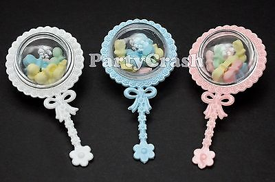 12pcs Baby Shower Favors Fillable Rattles White Blue Pink Decoration Boy Girl (Baby Rattle Favors Baby Shower)