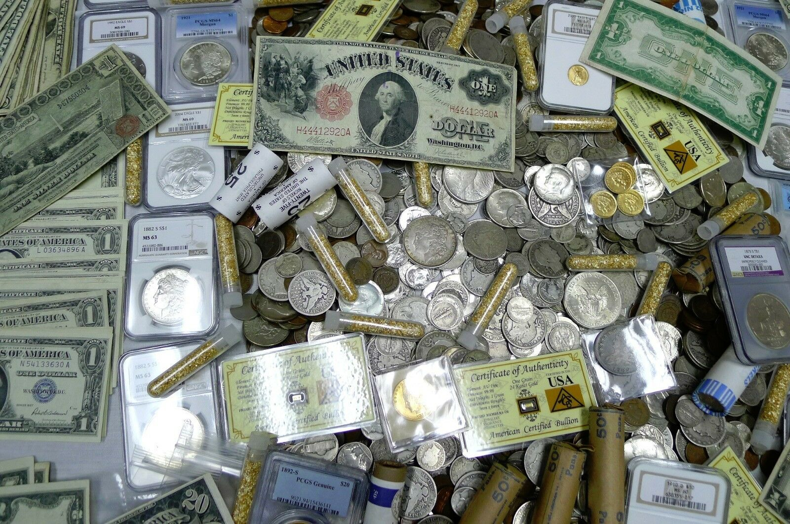 Best  GIGANTIC 100+ COIN ESTATE LOT! NGC,PCGS,GOLD,SILVER,CURRENCY,ROLLS,ANTIQUE,MORE!