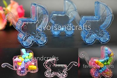24 Fillable Carriage Baby Shower Favors Blue Pink Party Decorations Girl Boy