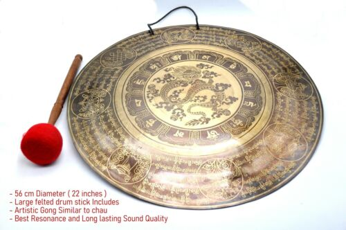 22 inches Diameter Dragon Carved handmade gong-Tibetan temple gong-Mantra carved