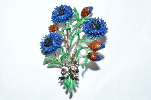 LOVELY VINTAGE ENAMEL SIGNED EXQUISITE CORNFLOWER BIRTHDAY BROOCH