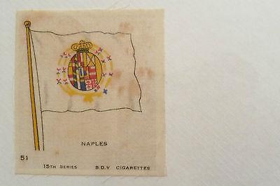 1930's B. D.V. CIGARETTES SILK FLAG,15th SERIES, NO.51- NAPLES