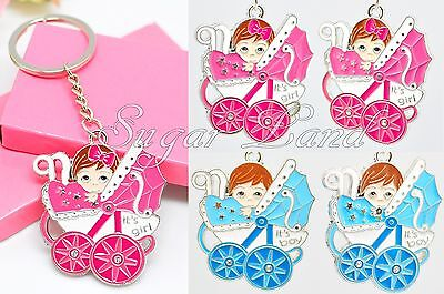 12 Baby Shower Favors Key Chains Girl Boy Carriage Llaveros Blue Pink - Keychain Favors