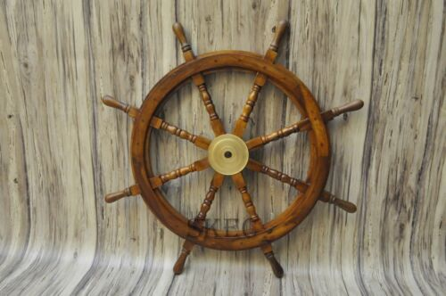 "NAUTICAL 36""WOODEN SHIP STEERING WHEEL PIRATE DECOR WOOD BRASS WALL BOAT STYLE"
