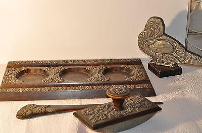 alte Holz Schreibgarnitur mit Metall Verzierungen 4 tlg.
