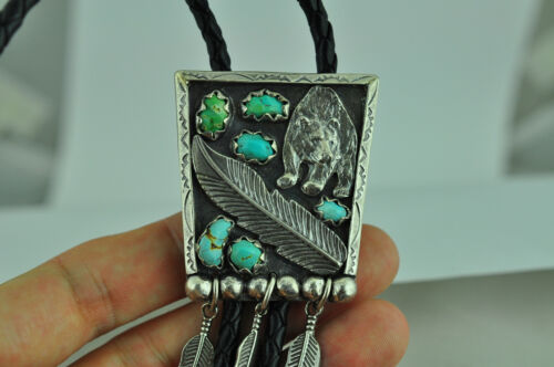Large 925 Sterling Silver Bear Feather Genuine Turquoise Bolo Tie