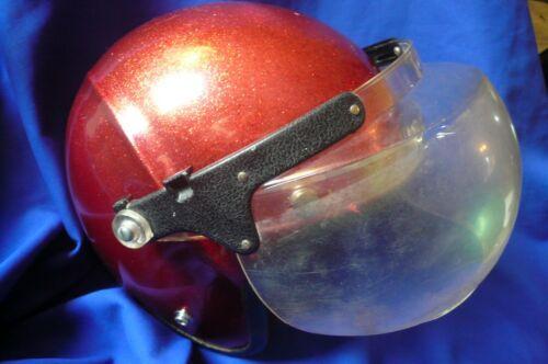 Vtg 1970s Lear Siegler Spoiler S-80 Red Glitter Motorcycle Helmet Small w/ Visor