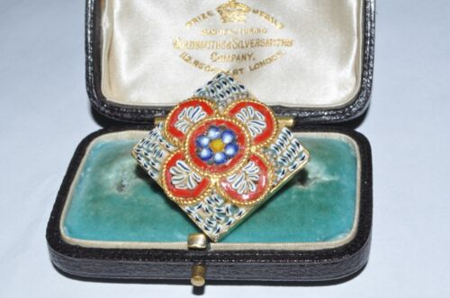 CHARMING VINTAGE MICRO MOSAIC SQUARE FLOWER BROOCH