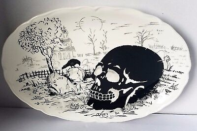 Maxcera Halloween Skull, cemetery and Raven Spooky Oval Serving Platter - Spooky Halloween Cemetery