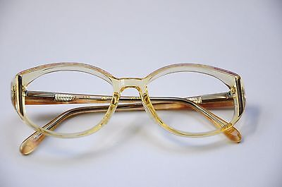 VINTAGE AO SAFETY GLASSES CLEAR YELLOW GOLD ROSE QUARTZ TRIM EYEGLASS FRAMES NEW