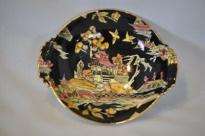 Royal Winton Black PEKIN Chintz Sm ROUND TIDBIT BOWL Closed Handles w/Gold Trim Black Handle Round Bowl