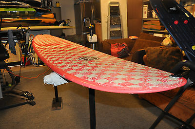 Steve Morgan Surfboard - 9'0 Pink Checkered (Pink Surfboard)