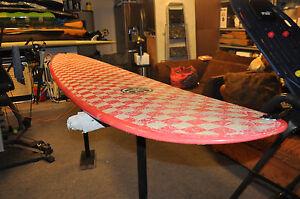 Steve Morgan Surfboard - 9'0 Pink Checkered Surfboard