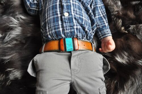 Vtg 70s Navajo Wood Turquoise Onyx Genuine Leather Toddler Baby Boy Belt Buckle