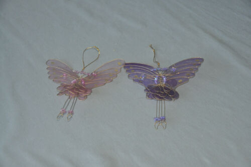Set of two (2) Butterfly Fairy   Christmas Ornaments