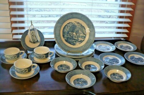 Royal Currier and Ives China 4 - 5 PC Place Settings 20 PIECE LOT
